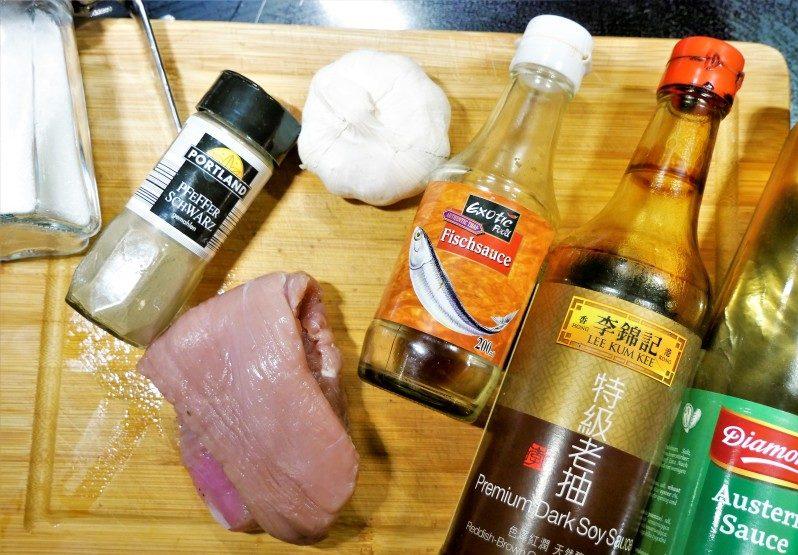 Zutaten für Thai Rezept Pork Garlic Pepper
