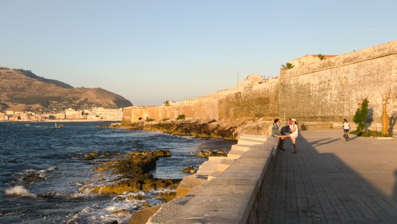 Stadtmauer in Trapani auf Sizilien in Italien