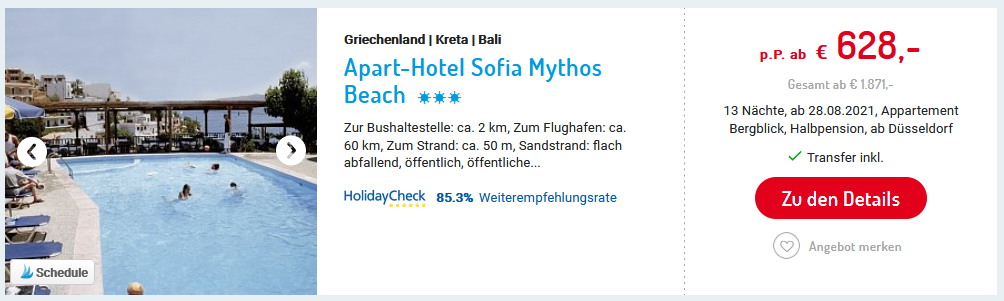Aparthotel Sofia Mythos Beach August 21-2