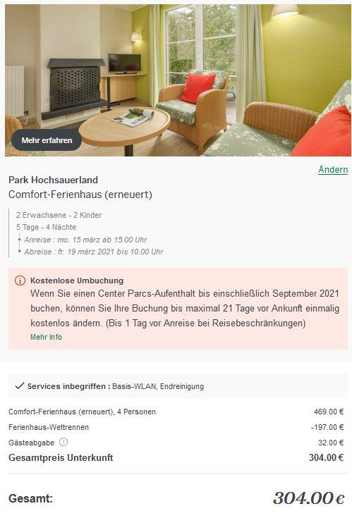 Center Parcs Ferienhaus Wettrennen Sauerland