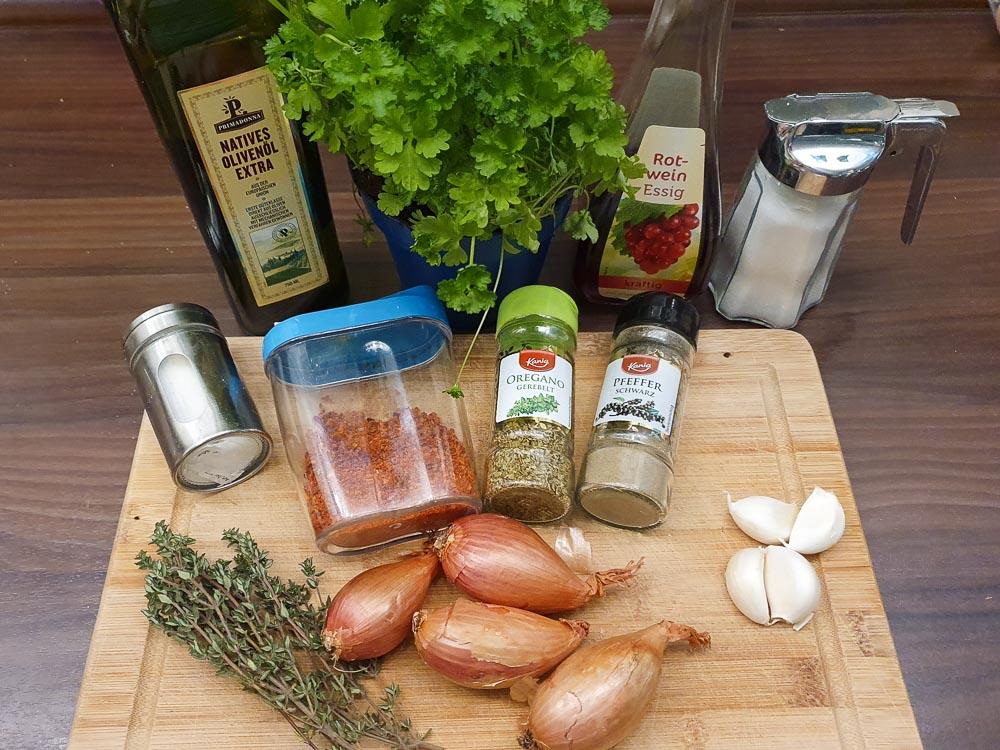 Zutaten für ein Chimichurri Rezept