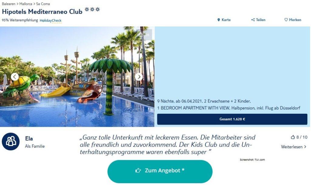 Mallorca Familienhotels Hipotels Mediterreaneo Club April 2021