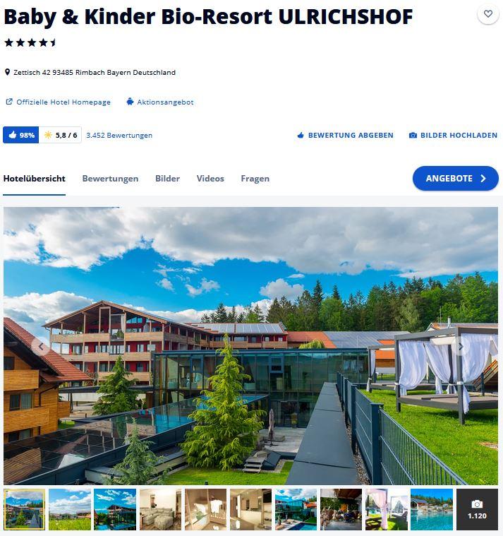 Kinderhotel Süddeutschland Baby Kinder Bio-Resort Ulrichshof
